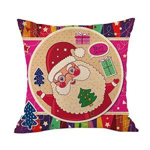 Tleegu Coque Polyester, Santa Renne Coton Lin de Noël Taie d'oreiller Canapé de Voiture, Coton, l, Taille Unique
