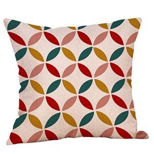 Yuiopmo Imprimé Géométrique Maison DéCoratif Housse De Coussin Coton Lin Canapé Coussin Throw Taie d'oreiller 45×45 CM Style Moderne