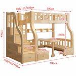DZWJ Lits superposés en Bois Massif, Assemblage Facile avec échelle et Garde-Corps, Conception de tiroir de Rangement, Table d'étude de couchette inférieure et lit interchangeables,A,2.45X1.5X1.7M