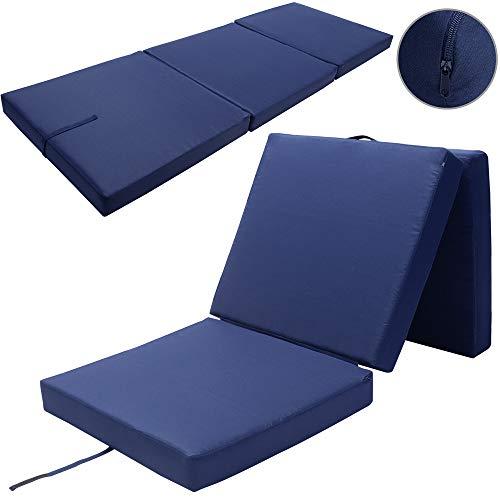 Detex Matelas Pliant de Voyage Confort Matelas d'appoint Pliable Lit futon Pouf Pliant avec Housse 190x70x10 cm Bleu
