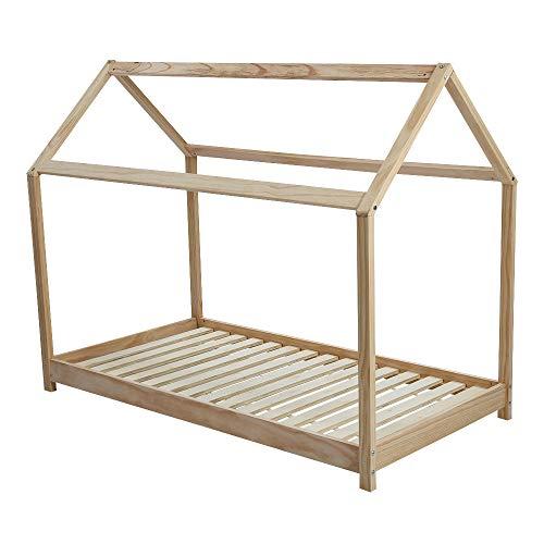Wealthgirl Cadre de lit en bois de pin massif pour enfants – Pour matelas de 80 x 160 cm