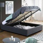 IDMarket – Lit Coffre Miami PVC Gris avec sommier 160 x 200 cm