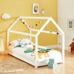 Lit cabane Enfant Montessori Tiny – Bois Massif de pin Blanc – 90x190cm