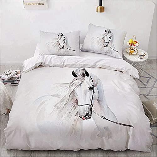 Housse de Couette Cheval, Parure de lit en Microfibre avec taies d'oreiller, Motif Chevaux, Impression numérique 3D, pour Enfant et Adulte(Cheval Blanc, 135x200cm)