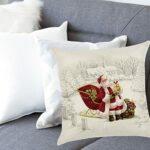 Housse de Coussin de Noël, taies d'oreiller de Noël, taie d'oreiller de Noël, protège-oreillers du père Noël taie d'oreiller carrée taie d'oreiller de Noël (45×45 cm)