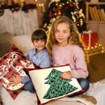 LUTER 4 Pièces 44.5×44.5cm Housse d'oreiller Christmas, Classique Taie d'oreiller en Lin de Noël pour Décoration Bureau Canapé de Voiture Literie à la Maison