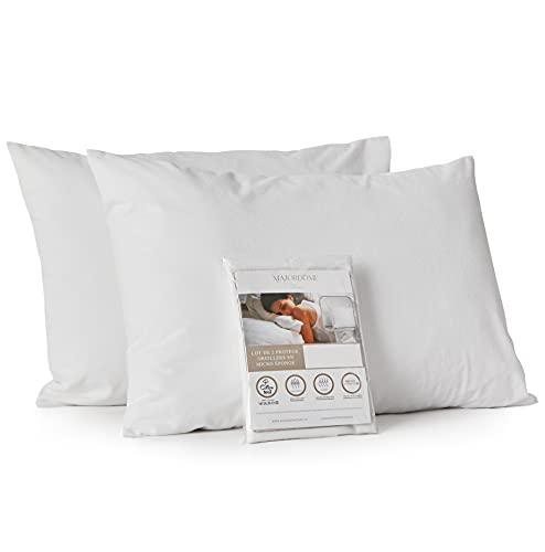 MAJORDÔME – Lot de 2 Protège oreillers imperméable (40×60 cm, 2 pièces) en Micro Coton éponge Respirant certifié OekoTex – Taie d'Oreiller imperméable Anti-acarien – Fermeture à Rabat