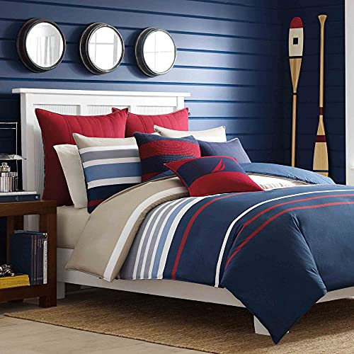 NAUTICA Home Bradford | Set de Housse de Couette | Parure de Lit en Satin | 100% Coton | 240×220 cm + 2 Taies d'oreiller 65 x 65 cm