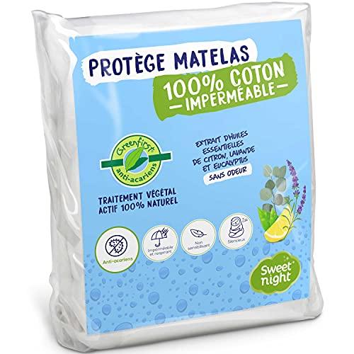 Sweetnight – Protège Matelas 90×190/200 cm Greenfirst® | Traitement Végétal : Actif 100% Naturel et Anti-Acariens | Alèse Imperméable | Molleton 100% Coton | Absorbant et Silencieux, Blanc