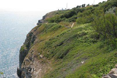 Path alongside steep cliff top.