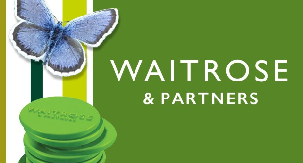 Waitrose logo, tokens and butterfly