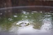Dråber bryder vandspejlet i træbaljen
