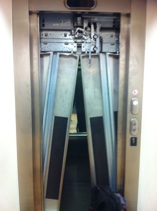 Passenger lift door fire brigade damage