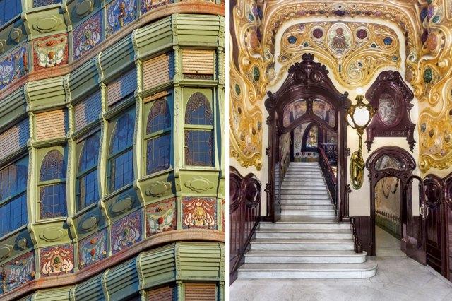 Fachada e interior de la Casa Comalat, en Barcelona