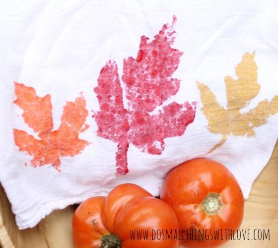 Fall tea towels sponge stamping 1
