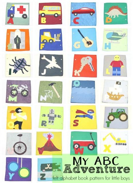 my ABC adventure--felt alphabet book pattern for little boys