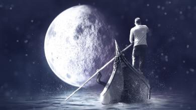 Ilustracija gondole in polne lune