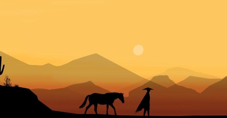 Konj in jezdec v puščavi - animirano