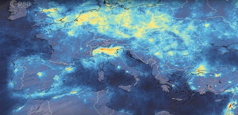 Onesnaženost zraka, onesnaženje, izpostavljenost onesnaženemu zraku, vreme, zmanjšanje onesnaženosti, onesnaževanje zraka, onesnaženje, onesnažen zrak, stopnja onesnaženosti zraka, ESA, Evropska vesoljska agencija, Italija, koronavirus, COVID-19