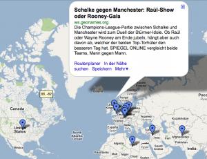 GeoRSS Feed auf GoogleMaps für Spon Topmeldungen