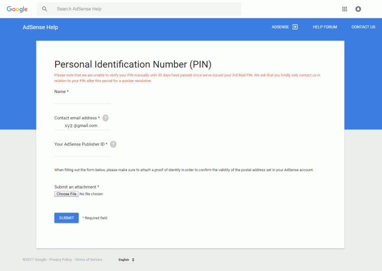 Adsense Address Verification