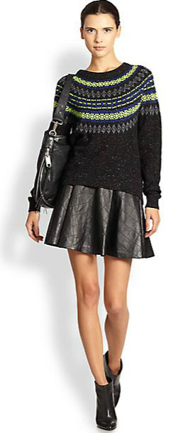 Outfit Inspiration - Fit and flare Quilted skirt with fair aisle sweater and ankle boots