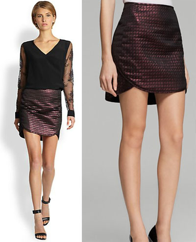 Party Outfit Inspiration - Metallic plum quilted skirt and black bi-material top