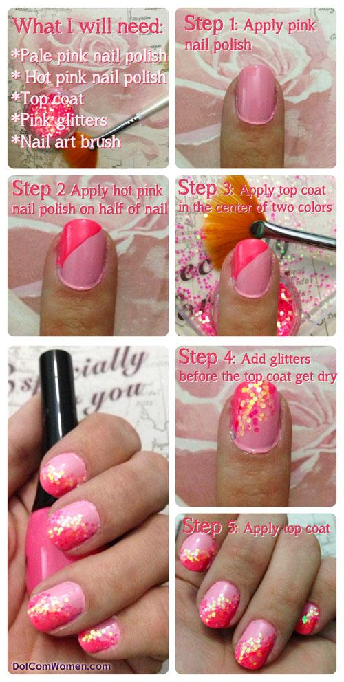 Diy Pink Glitter Nail Art