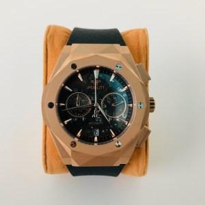 Hublot Rose gold black rubber strap watch