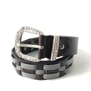 Nanni Dark Brown leather & steel belt