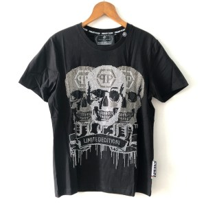 PHILIPP PLEIN Black short sleeve round neck t-shirt