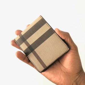Beige Check leather Bifold Wallet