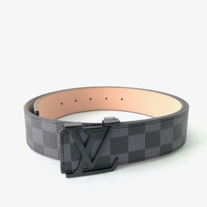 Louis Vuitton Grey Black buckle leather belt