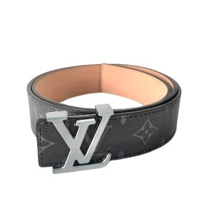 Louis Vuitton Black leather Silver buckle belt