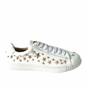 BALLY White Low top golden stars sneakers