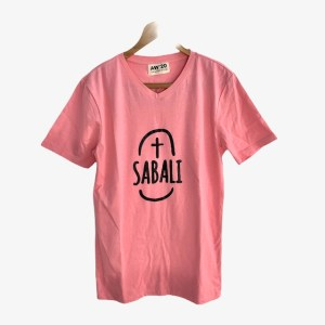 "SABALI ""Real Men Tee"" – Powder pink short sleeve round neck t-shirt - DOT MADE"