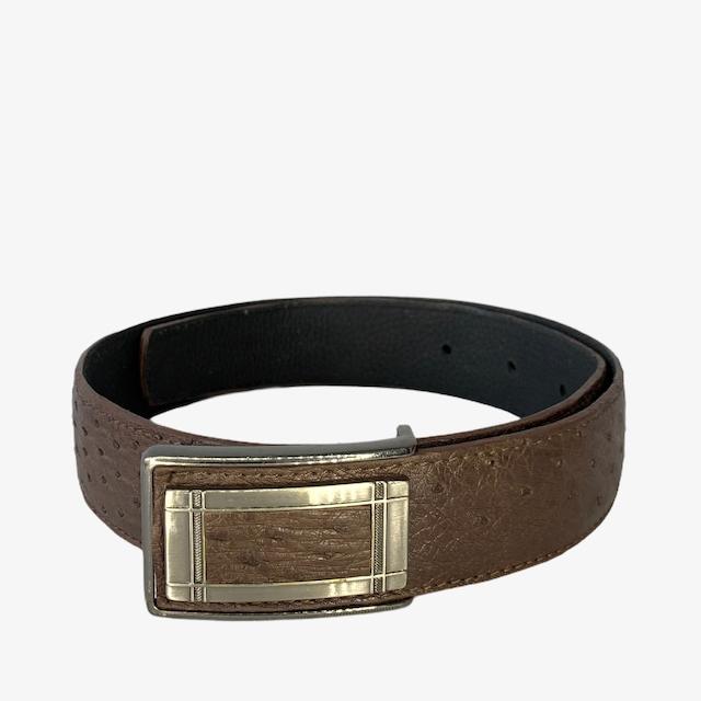 OB Ostrich brown leather belt - dot made