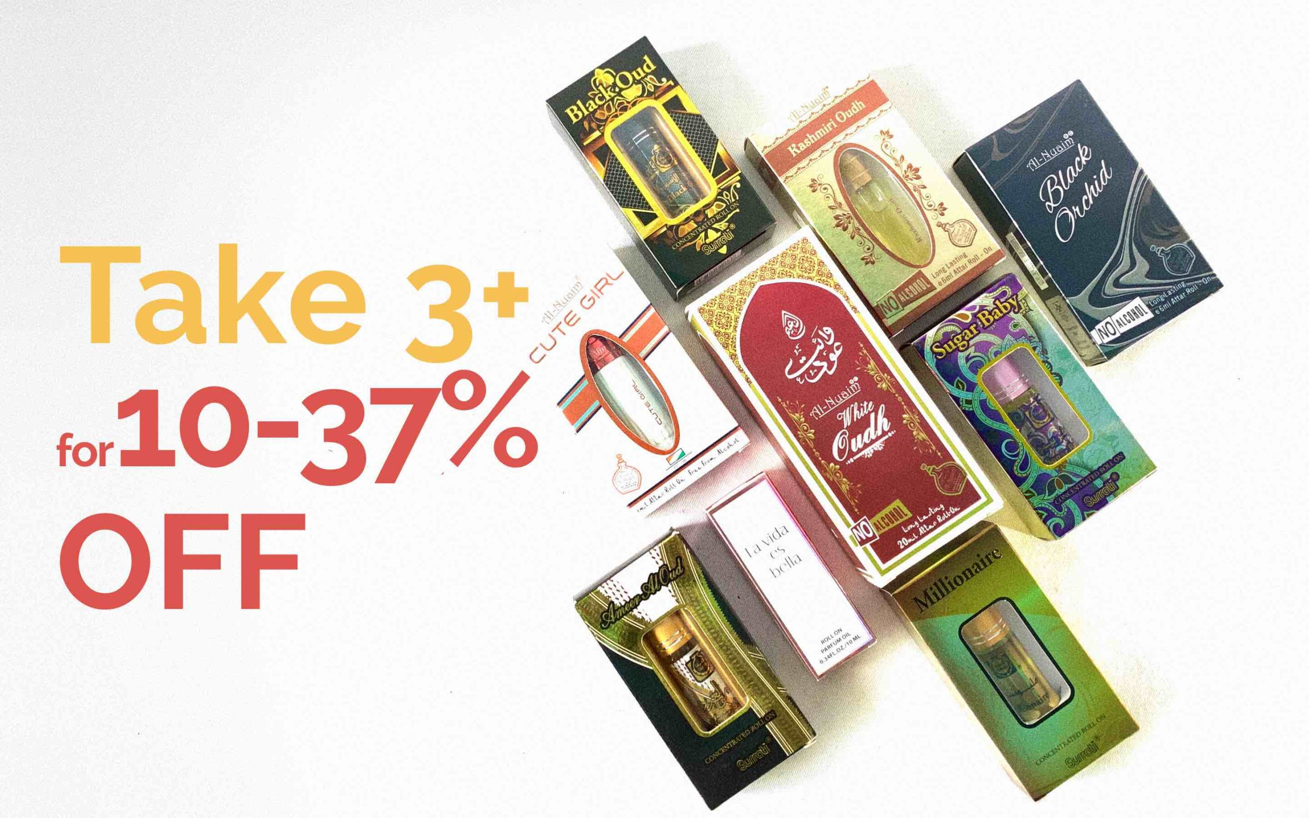Take 3 for 10% off attar banner