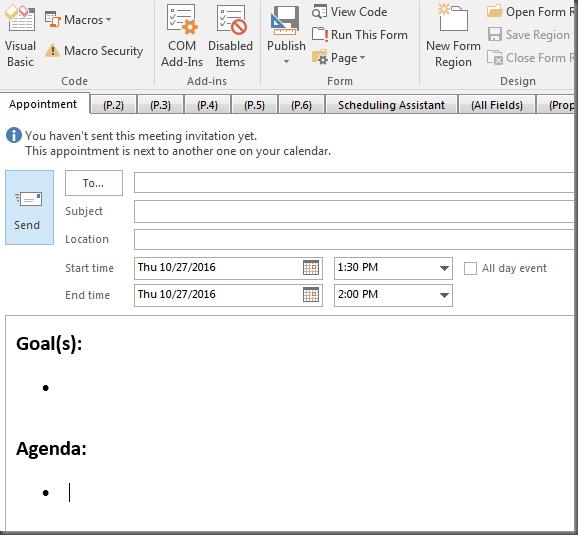 Outlook Tip Set Default Meeting Template Dotnet Catch Blogging