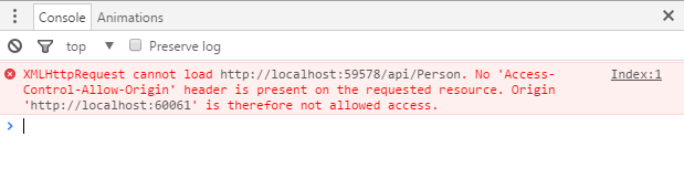 XMLHttpRequest cannot load http://localhost. No 'access-control-allow-origin' header is present on the requested resource