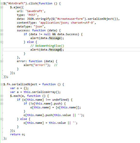 Post form data to controller in ASP NET MVC using Ajax