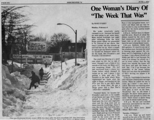 One Woman s Diary of The Blizzard of  78   Dorchester Reporter A newspaper clip from the 1978 Dorchester Day edition features Mary Casey  Forry s diary of the Great Blizzard
