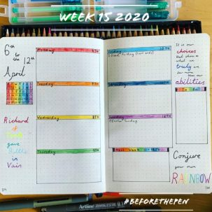 Bullet Journal Weekly Spread Week 15 2020