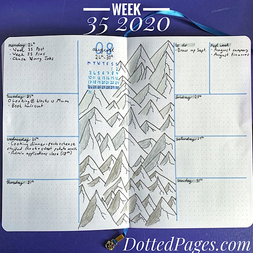 Week 35 2020 Bullet Journal Spread