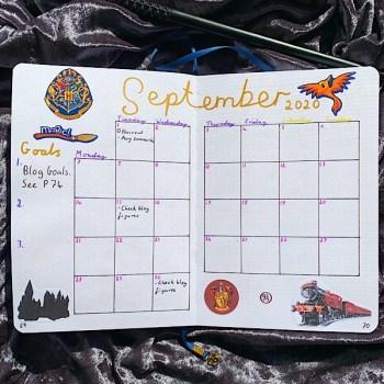 September 2020 Bullet Journal Setup- Monthly Log