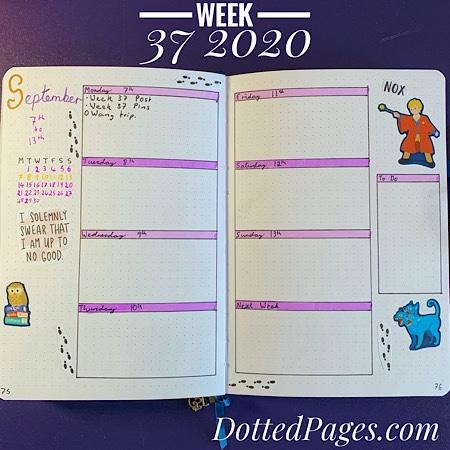 Week 37 2020 Bullet Journal Spread