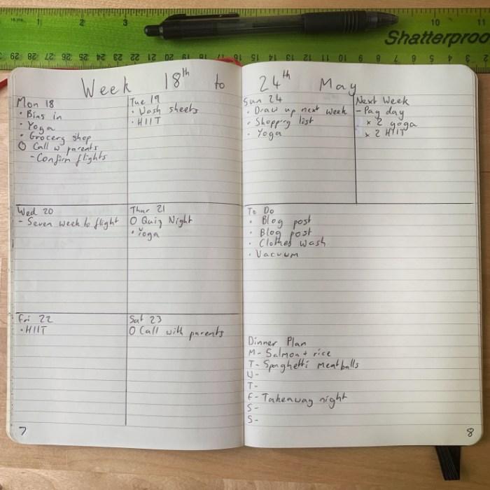 Simple Bullet Journal Weekly Log