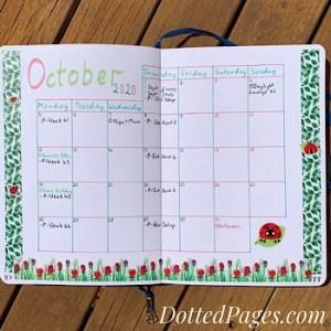 October Bullet Journal Monthly Log