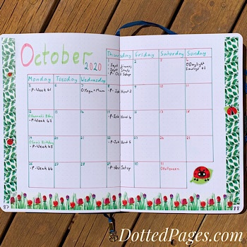 October Bullet Journal Monthly Log