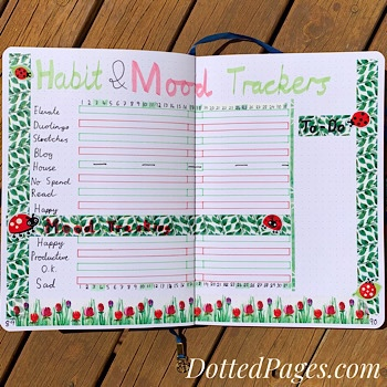 October Bullet Journal Mood and Habit Trackers